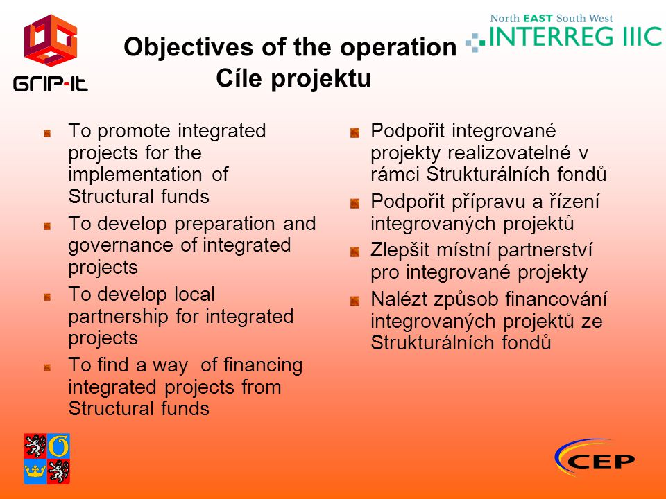 Objectives of the operation Cíle projektu To promote integrated projects for the implementation of Structural funds To develop preparation and governance of integrated projects To develop local partnership for integrated projects To find a way of financing integrated projects from Structural funds Podpořit integrované projekty realizovatelné v rámci Strukturálních fondů Podpořit přípravu a řízení integrovaných projektů Zlepšit místní partnerství pro integrované projekty Nalézt způsob financování integrovaných projektů ze Strukturálních fondů