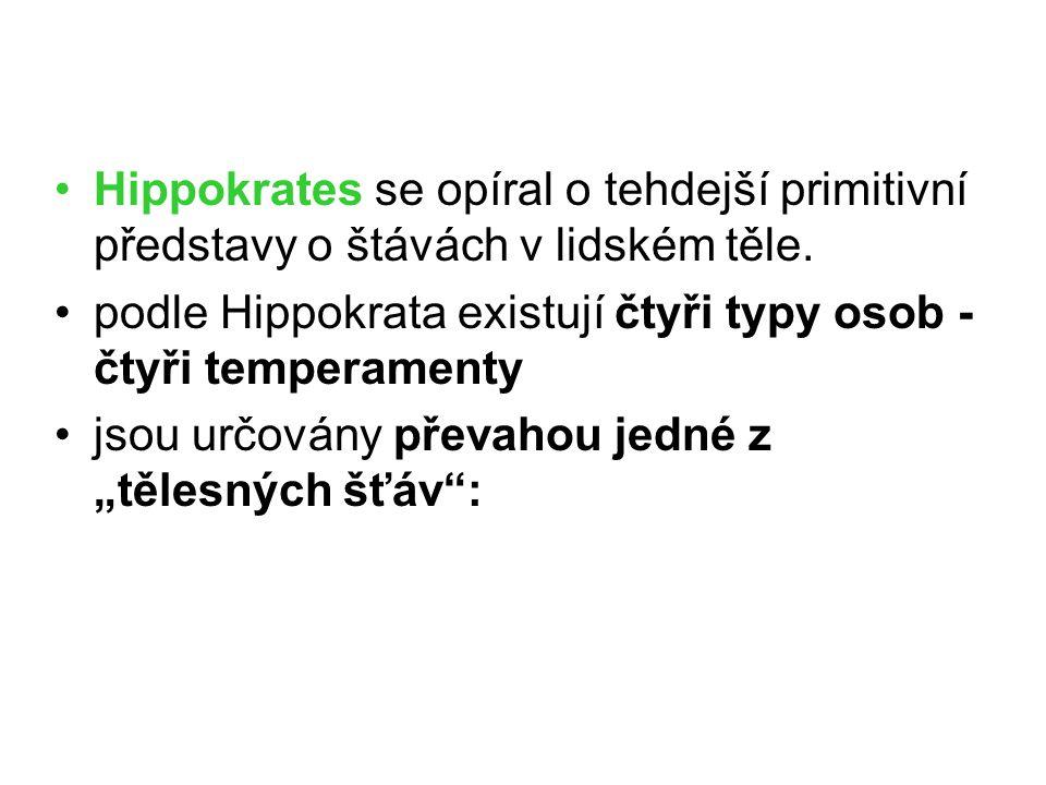 Hippokrates se opíral o tehdejší primitivní představy o štávách v lidském těle. podle Hippokrata existují čtyři typy osob - čtyři temperamenty jsou ur