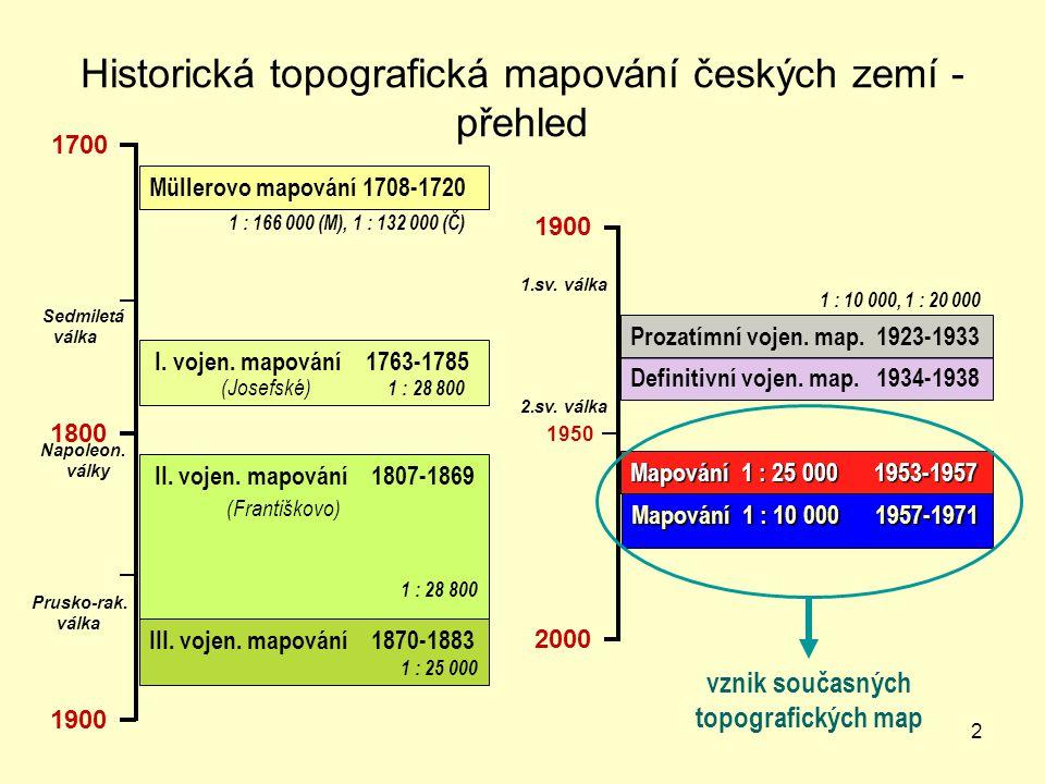 2 Historická topografická mapování českých zemí - přehled 1700 1800 1900 Müllerovo mapování 1708-1720 I.
