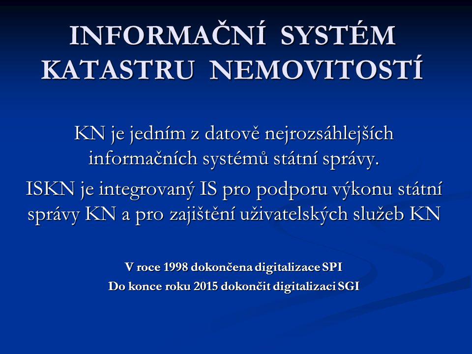 Poskytování údajů z KN ( 2) Daty v elektronické podobě se rozumí: data KN ve stanovených výměnných formátech, obsahující údaje souboru popisných informací (SPI), data KN ve stanovených výměnných formátech, obsahující údaje souboru popisných informací (SPI), digitální katastrální mapy (DKM) a digitální katastrální mapy (DKM) a rastrová data skenovaných katastrálních map.