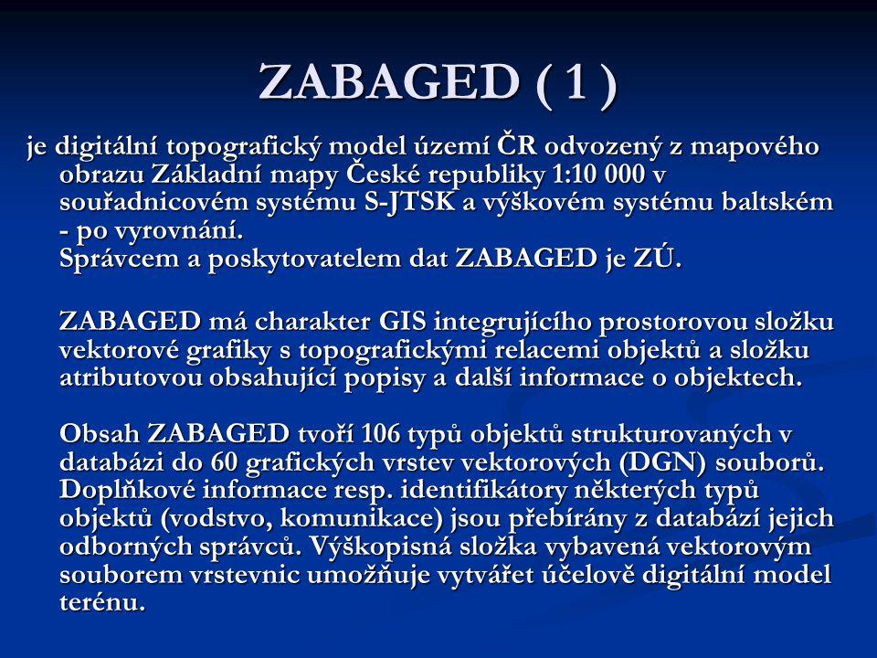 ZABAGED ( 1 ) je digitální topografický model území ČR odvozený z mapového obrazu Základní mapy České republiky 1:10 000 v souřadnicovém systému S-JTS