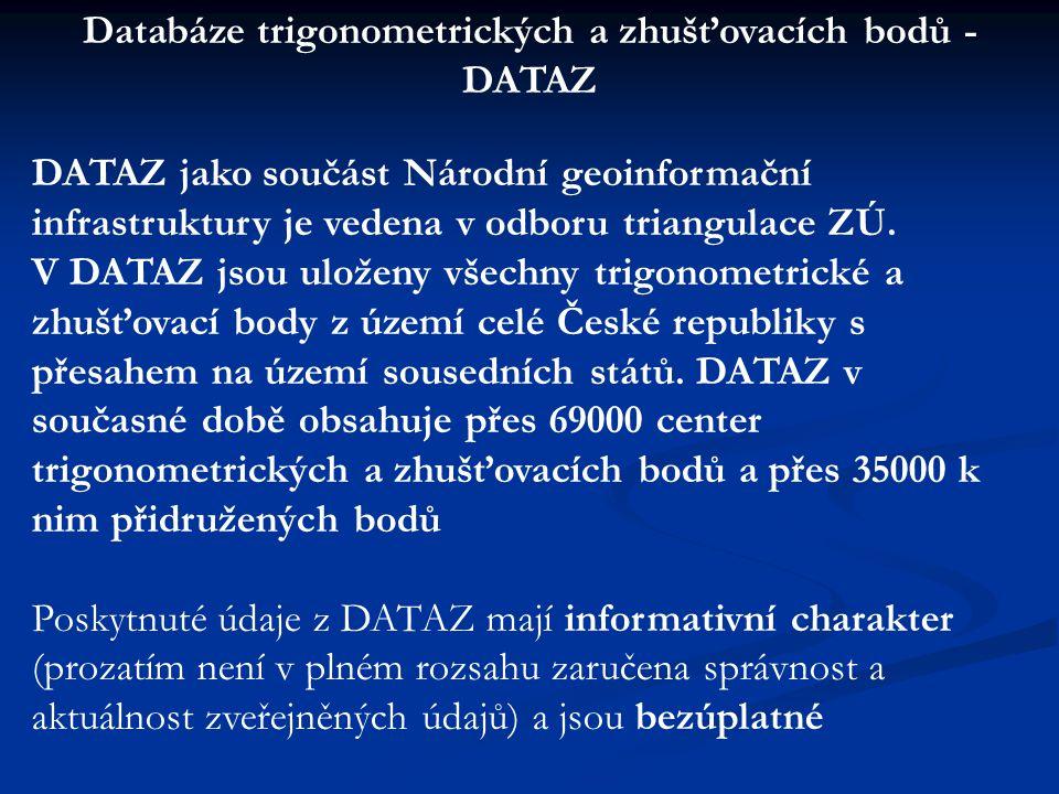 DATAZ jako součást Národní geoinformační infrastruktury je vedena v odboru triangulace ZÚ. V DATAZ jsou uloženy všechny trigonometrické a zhušťovací b