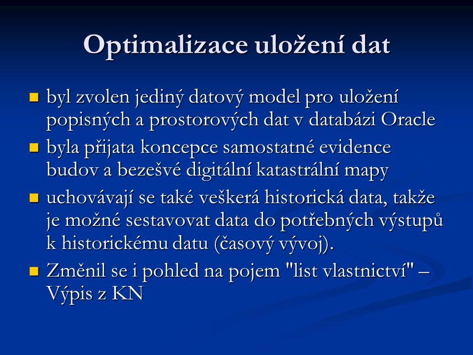 Optimalizace uložení dat byl zvolen jediný datový model pro uložení popisných a prostorových dat v databázi Oracle byl zvolen jediný datový model pro