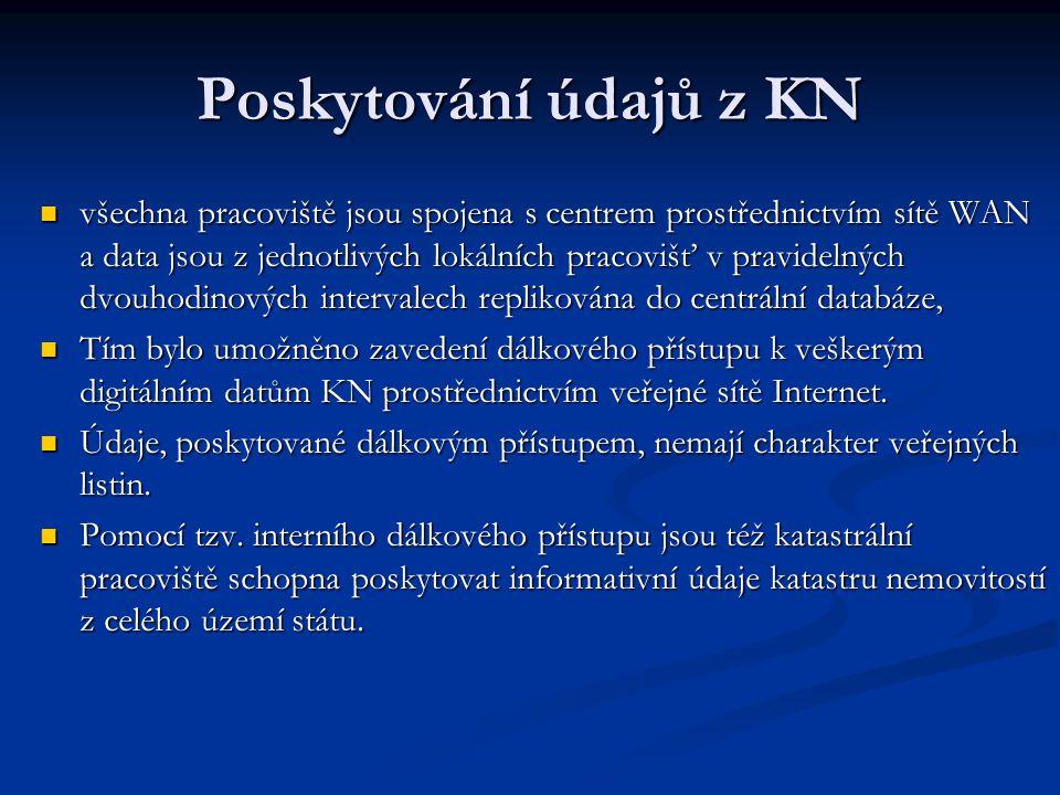 Poskytování údajů z KN všechna pracoviště jsou spojena s centrem prostřednictvím sítě WAN a data jsou z jednotlivých lokálních pracovišť v pravidelnýc