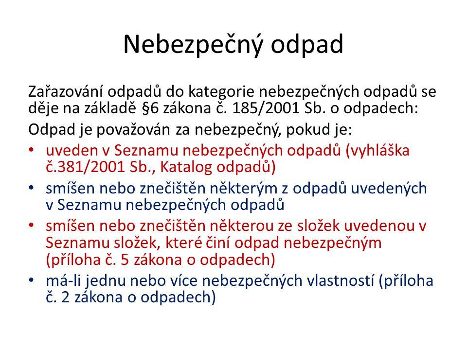 Úkol Seznamte se s těmito dokumenty: 1.vyhláška č.381/2001 Sb., Katalog odpadů 2.Seznam složek, které činí odpad nebezpečným (příloha č.