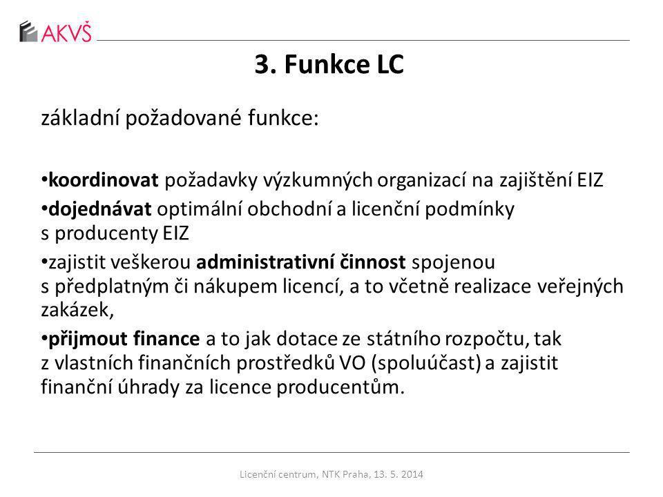 3. Funkce LC základní požadované funkce: koordinovat požadavky výzkumných organizací na zajištění EIZ dojednávat optimální obchodní a licenční podmínk