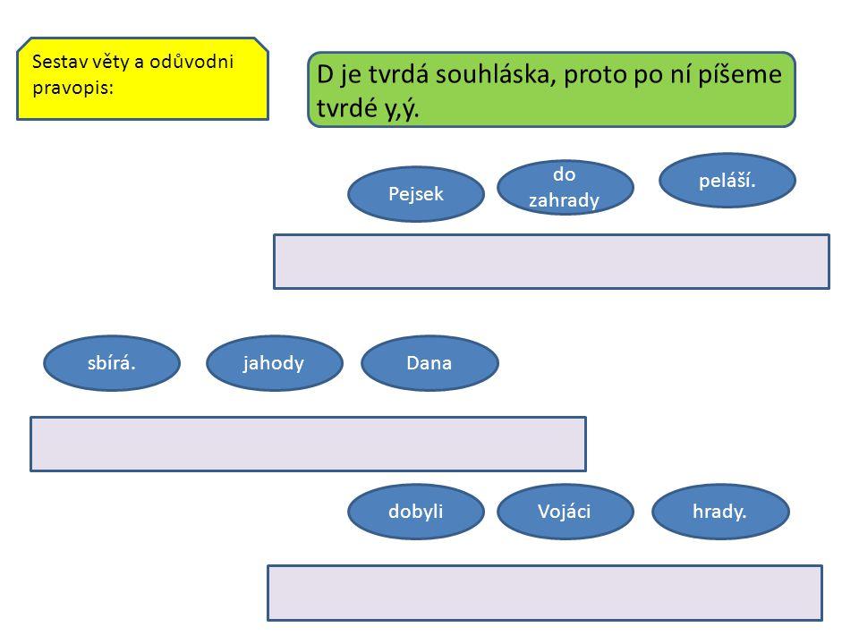 Sestav věty a odůvodni pravopis: sbírá.jahodyDana Pejsek do zahrady peláší.