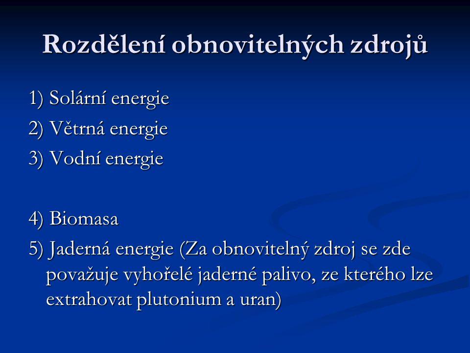 1) Solární energie 2) Větrná energie 3) Vodní energie 4) Biomasa 5) Jaderná energie (Za obnovitelný zdroj se zde považuje vyhořelé jaderné palivo, ze kterého lze extrahovat plutonium a uran)