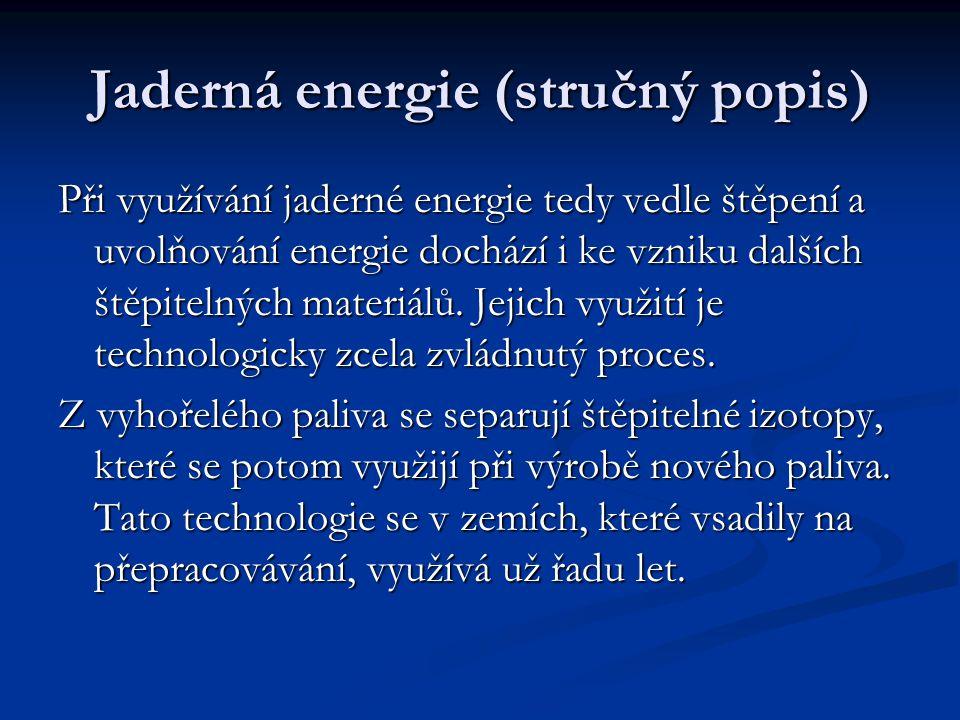 Jaderná energie (stručný popis) Při využívání jaderné energie tedy vedle štěpení a uvolňování energie dochází i ke vzniku dalších štěpitelných materiálů.
