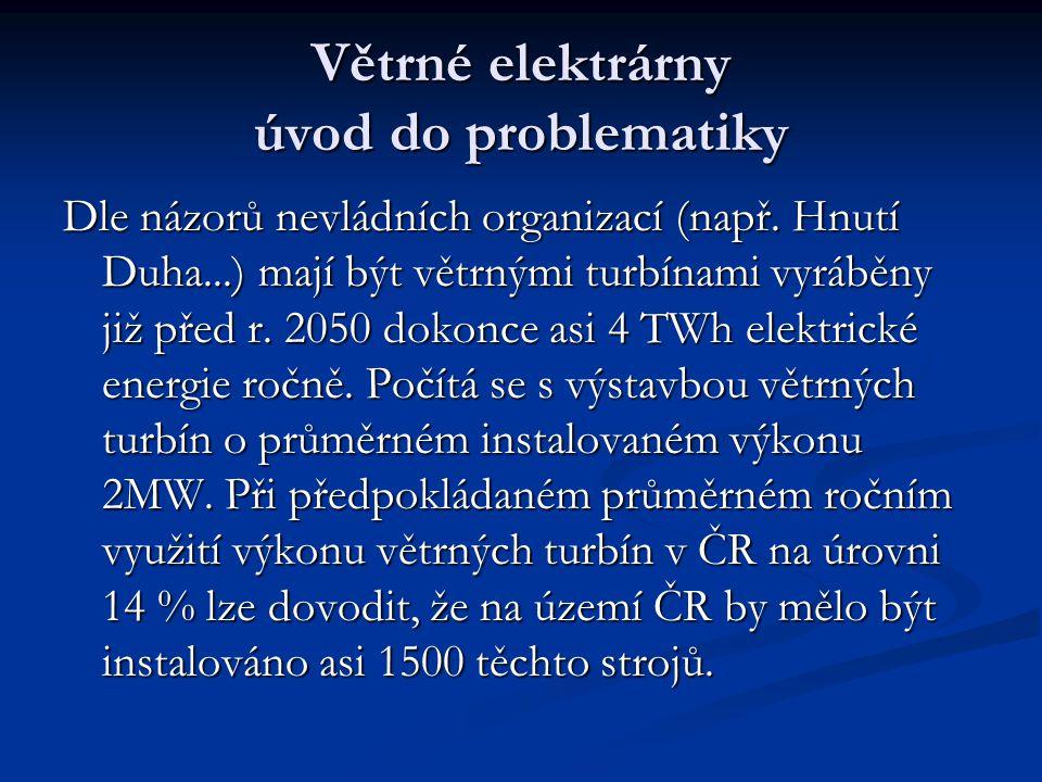 Větrné elektrárny úvod do problematiky Dle názorů nevládních organizací (např.