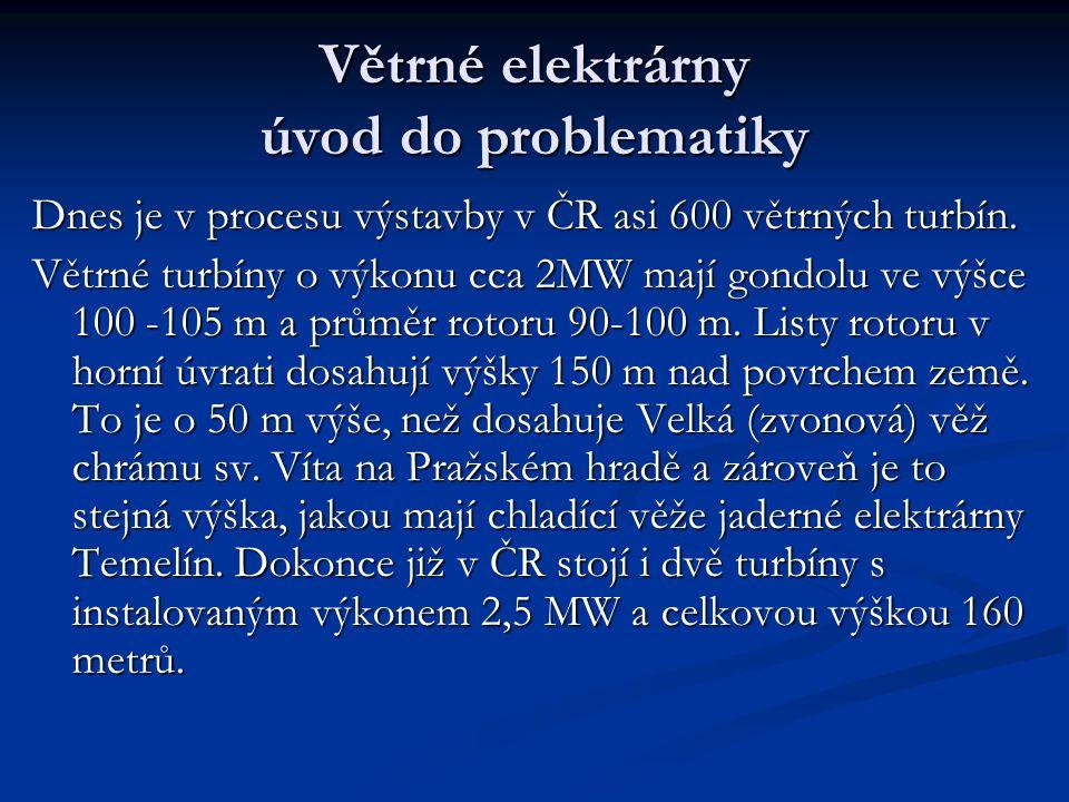 Větrné elektrárny úvod do problematiky Dnes je v procesu výstavby v ČR asi 600 větrných turbín.