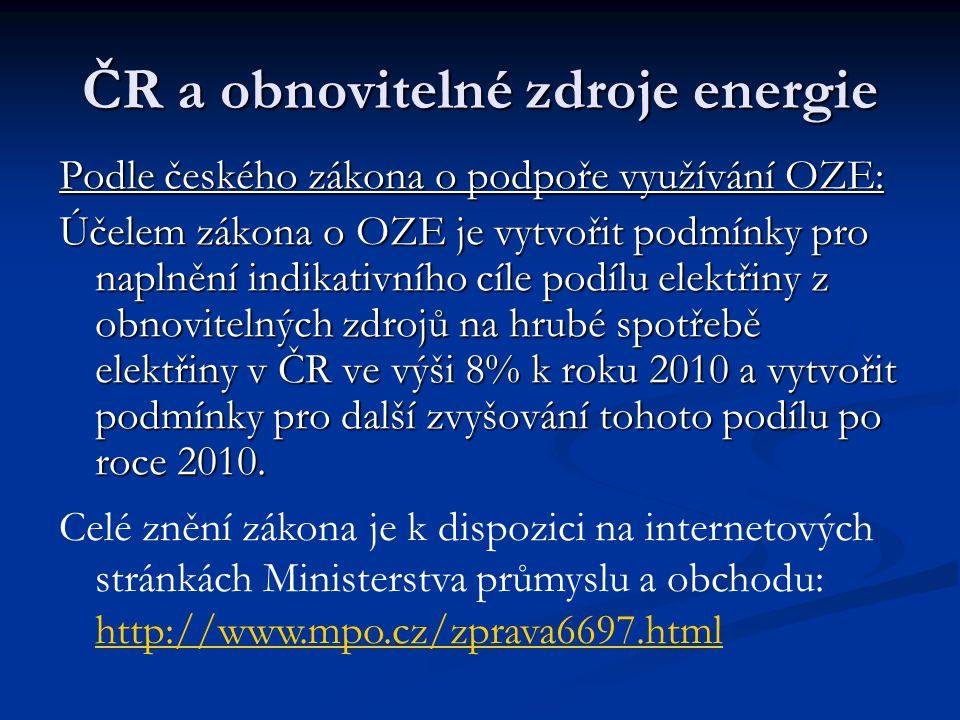 ČR a obnovitelné zdroje energie Podle českého zákona o podpoře využívání OZE: Účelem zákona o OZE je vytvořit podmínky pro naplnění indikativního cíle podílu elektřiny z obnovitelných zdrojů na hrubé spotřebě elektřiny v ČR ve výši 8% k roku 2010 a vytvořit podmínky pro další zvyšování tohoto podílu po roce 2010.