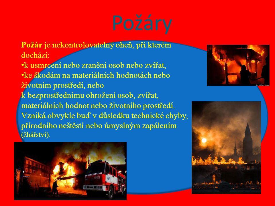 Požáry Požár je nekontrolovatelný oheň, při kterém dochází: k usmrcení nebo zranění osob nebo zvířat, ke škodám na materiálních hodnotách nebo životní