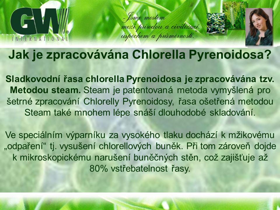 Jak je zpracovávána Chlorella Pyrenoidosa? Sladkovodní řasa chlorella Pyrenoidosa je zpracovávána tzv. Metodou steam. Steam je patentovaná metoda vymy