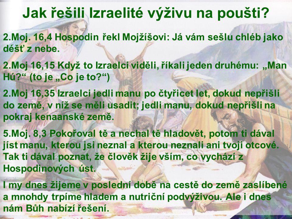 Jak řešili Izraelité výživu na poušti? 2.Moj. 16,4 Hospodin řekl Mojžíšovi: Já vám sešlu chléb jako déšť z nebe. 2.Moj 16,15 Když to Izraelci viděli,