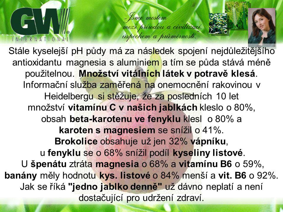 Stále kyselejší pH půdy má za následek spojení nejdůležitějšího antioxidantu magnesia s aluminiem a tím se půda stává méně použitelnou. Množství vitál