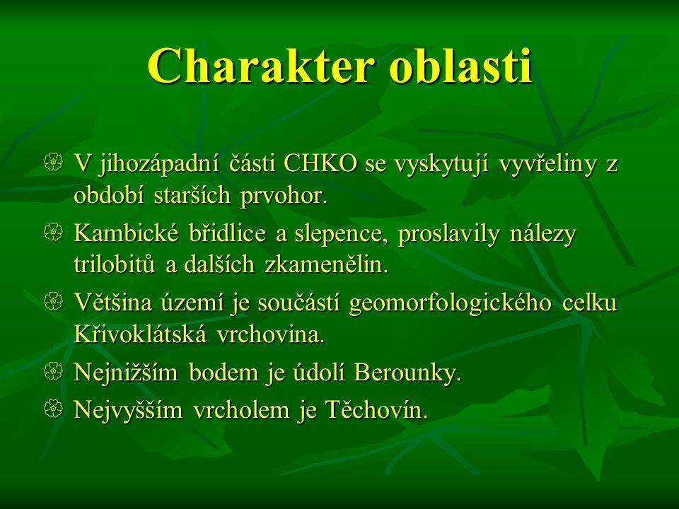 Křivoklátsko  Chráněná krajinná oblast Křivoklátsko byla vyhlášena v roce 1978.  Slouží k ochraně jedinečných společenstev ve velmi členitém terénu