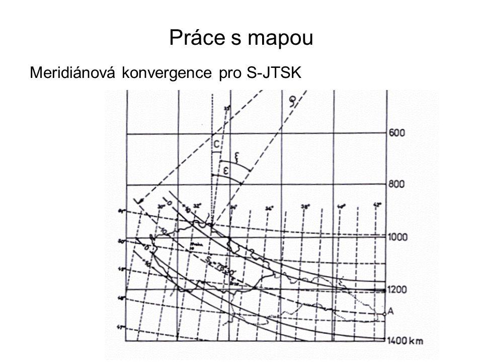 Práce s mapou Meridiánová konvergence pro S-JTSK