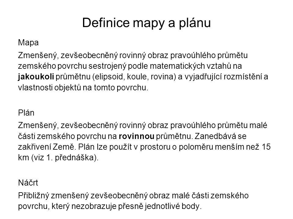 Definice mapy a plánu Mapa Zmenšený, zevšeobecněný rovinný obraz pravoúhlého průmětu zemského povrchu sestrojený podle matematických vztahů na jakouko