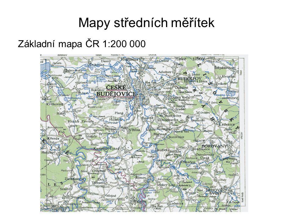 Mapy středních měřítek Základní mapa ČR 1:200 000