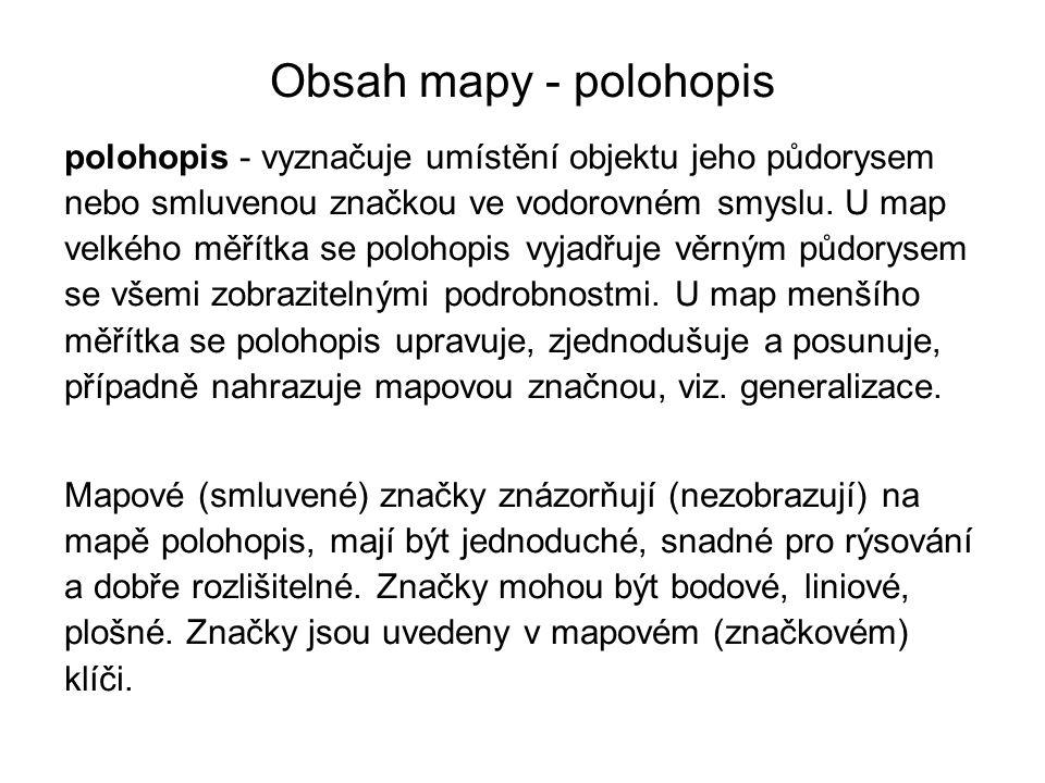 Obsah mapy - polohopis polohopis - vyznačuje umístění objektu jeho půdorysem nebo smluvenou značkou ve vodorovném smyslu. U map velkého měřítka se pol