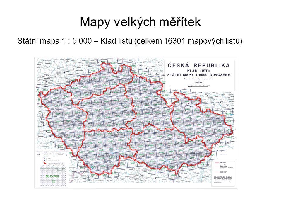 Mapy velkých měřítek Státní mapa 1 : 5 000 – Klad listů (celkem 16301 mapových listů)