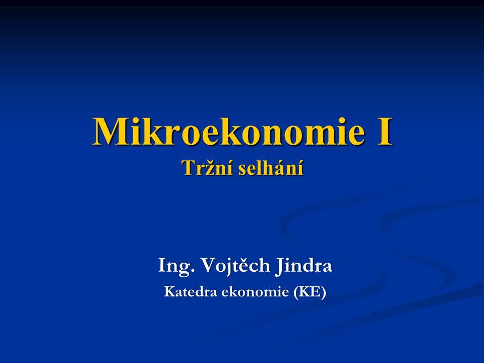 Mikroekonomie I Tržní selhání Ing. Vojtěch JindraIng. Vojtěch Jindra Katedra ekonomie (KE)Katedra ekonomie (KE)