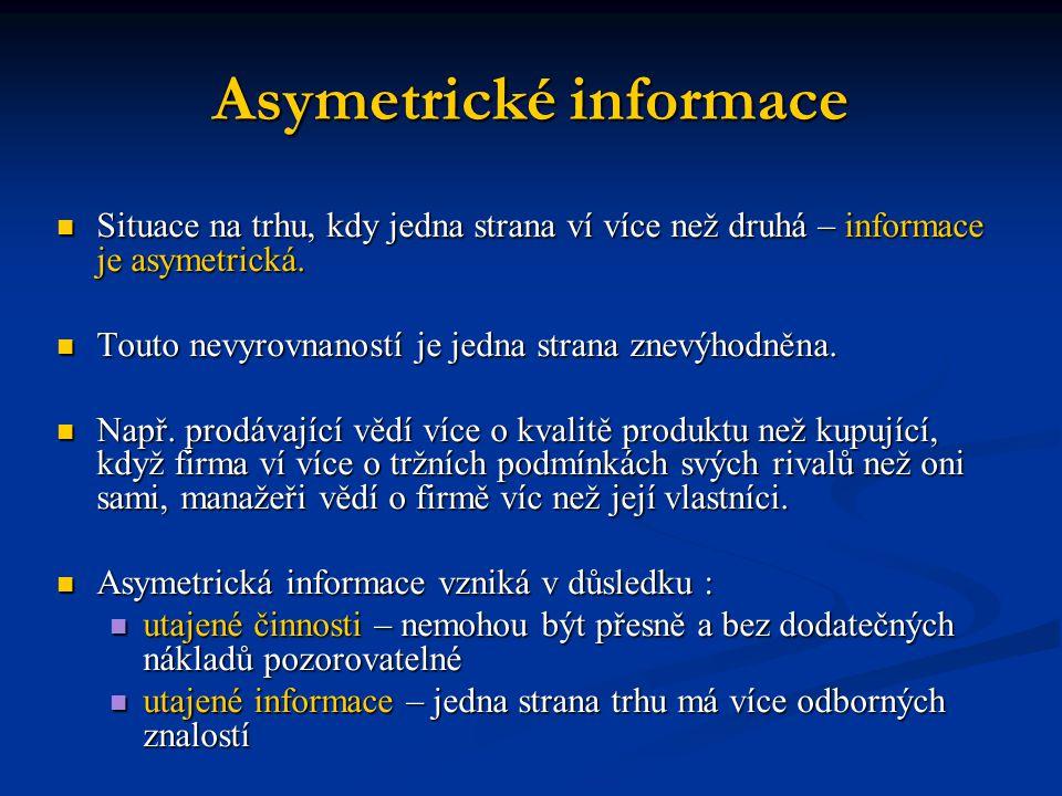 Asymetrické informace Situace na trhu, kdy jedna strana ví více než druhá – informace je asymetrická. Situace na trhu, kdy jedna strana ví více než dr