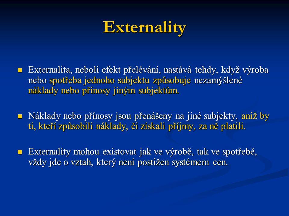 Externality Externalita, neboli efekt přelévání, nastává tehdy, když výroba nebo spotřeba jednoho subjektu způsobuje nezamýšlené náklady nebo přínosy jiným subjektům.