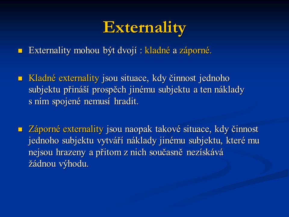 Externality Externality mohou být dvojí : kladné a záporné. Externality mohou být dvojí : kladné a záporné. Kladné externality jsou situace, kdy činno