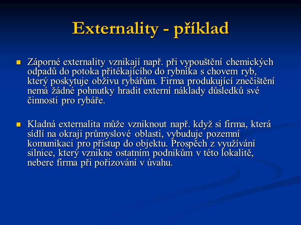 Externality - příklad Záporné externality vznikají např. při vypouštění chemických odpadů do potoka přitékajícího do rybníka s chovem ryb, který posky