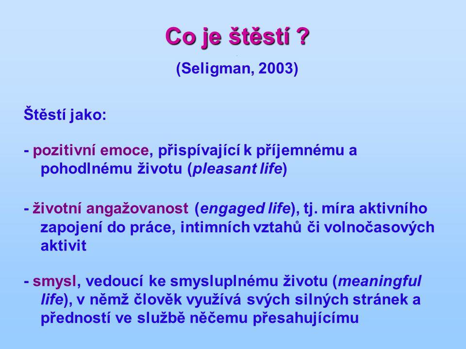 Co je štěstí ? Co je štěstí ?. (Seligman, 2003) Štěstí jako: - pozitivní emoce, přispívající k příjemnému a pohodlnému životu (pleasant life) - životn