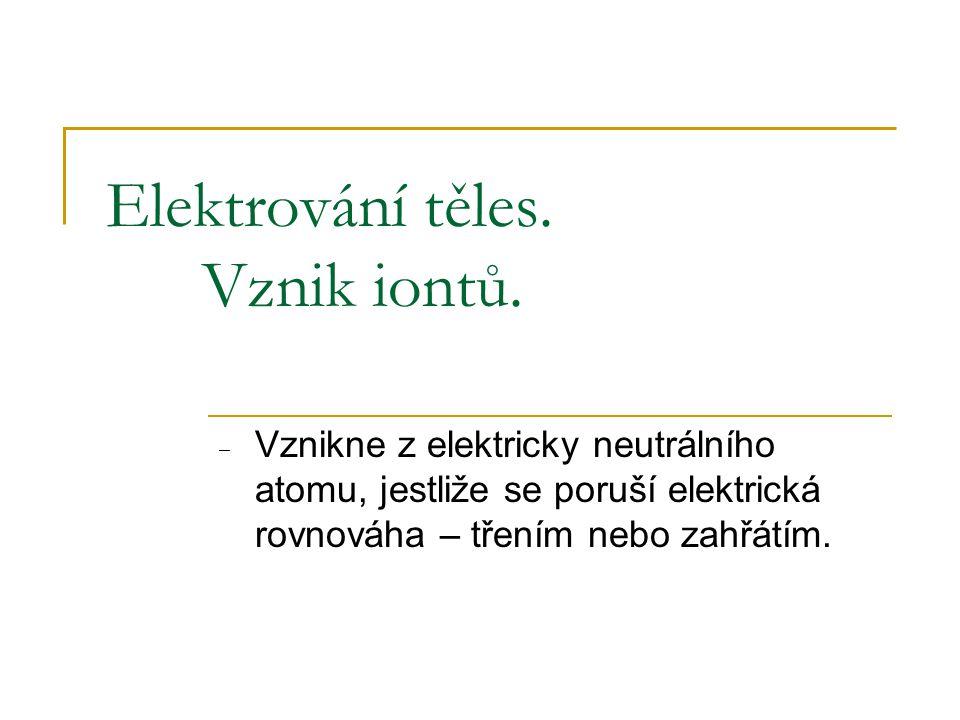 Elektrování těles. Vznik iontů. ‒ Vznikne z elektricky neutrálního atomu, jestliže se poruší elektrická rovnováha – třením nebo zahřátím.