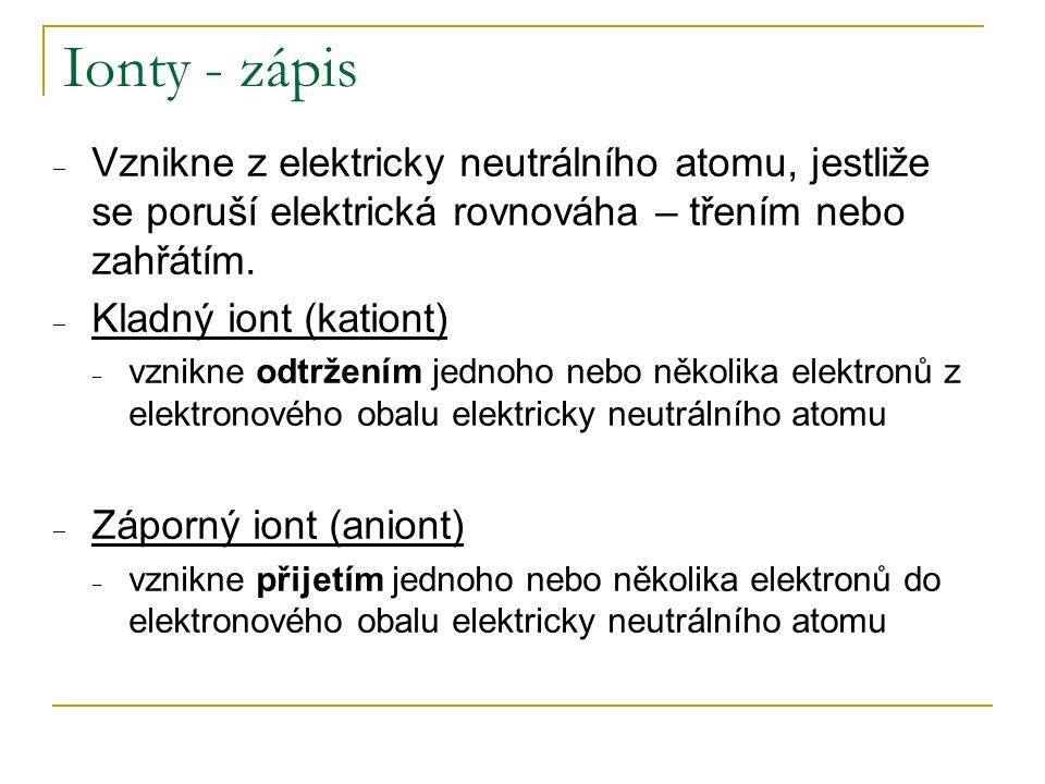 Ionty - zápis ‒ Vznikne z elektricky neutrálního atomu, jestliže se poruší elektrická rovnováha – třením nebo zahřátím. ‒ Kladný iont (kationt) ‒ vzni