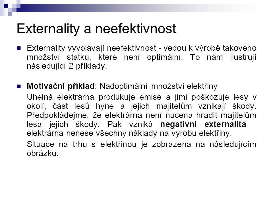 Externality a neefektivnost Externality vyvolávají neefektivnost - vedou k výrobě takového množství statku, které není optimální. To nám ilustrují nás
