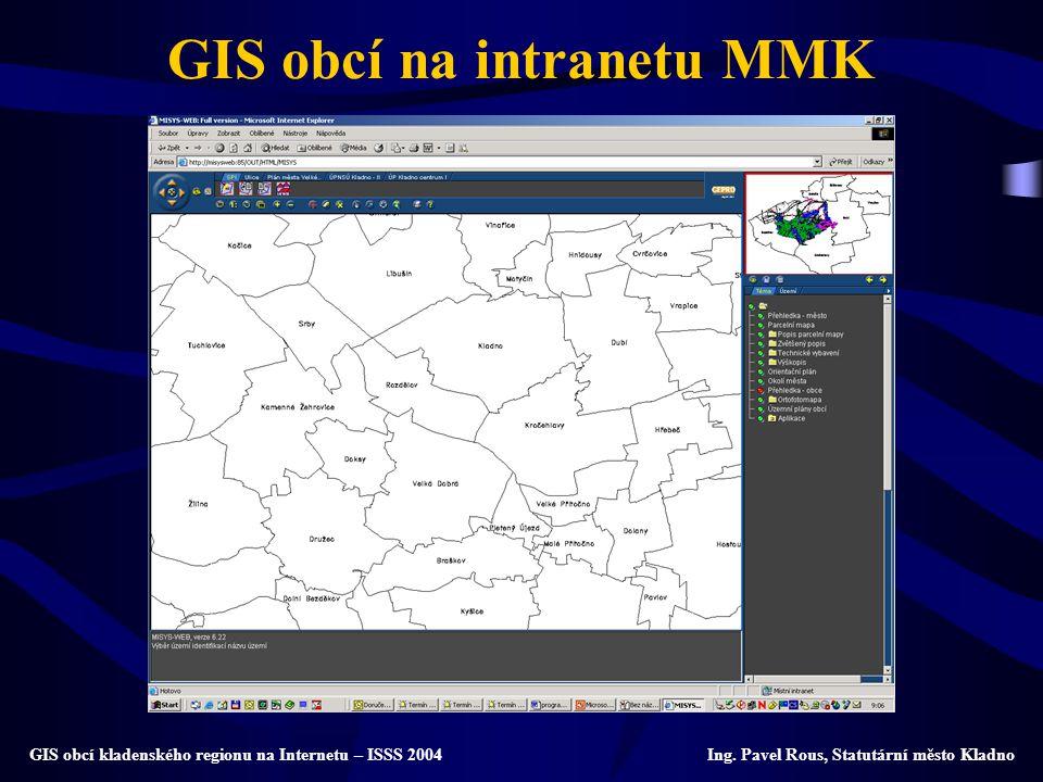 GIS obcí na intranetu MMK GIS obcí kladenského regionu na Internetu – ISSS 2004 Ing. Pavel Rous, Statutární město Kladno