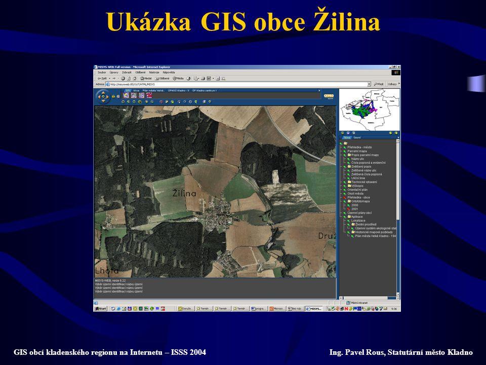 Ukázka GIS obce Žilina GIS obcí kladenského regionu na Internetu – ISSS 2004 Ing. Pavel Rous, Statutární město Kladno
