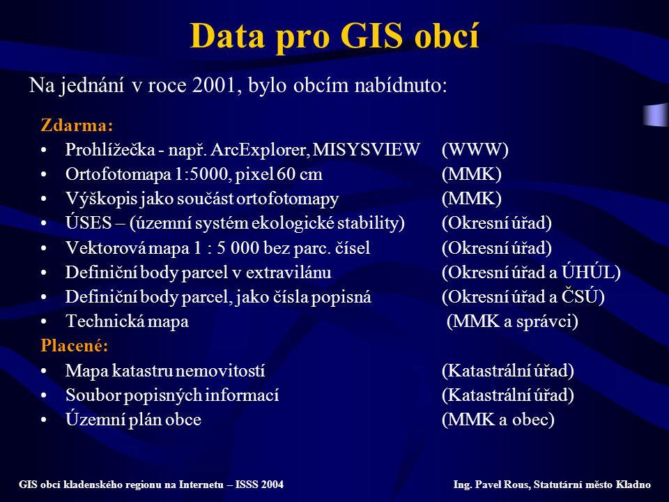 Data pro GIS obcí Na jednání v roce 2001, bylo obcím nabídnuto: Zdarma: Prohlížečka - např. ArcExplorer, MISYSVIEW(WWW) Ortofotomapa 1:5000, pixel 60