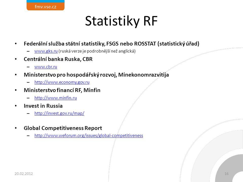Statistiky RF Federální služba státní statistiky, FSGS nebo ROSSTAT (statistický úřad) – www.gks.ru (ruská verze je podrobnější než anglická) www.gks.