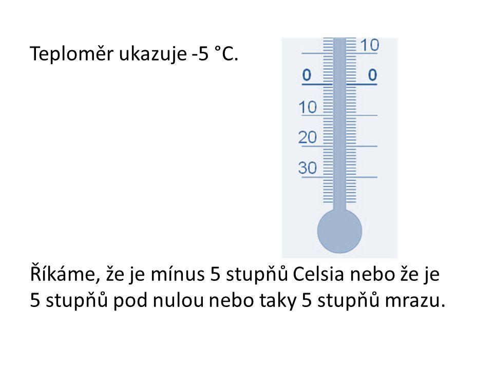 Teploměr ukazuje -5 °C. Říkáme, že je mínus 5 stupňů Celsia nebo že je 5 stupňů pod nulou nebo taky 5 stupňů mrazu.