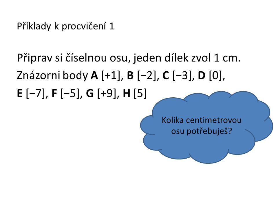 Příklady k procvičení 1 Připrav si číselnou osu, jeden dílek zvol 1 cm. Znázorni body A [+1], B [−2], C [−3], D [0], E [−7], F [−5], G [+9], H [5] Kol