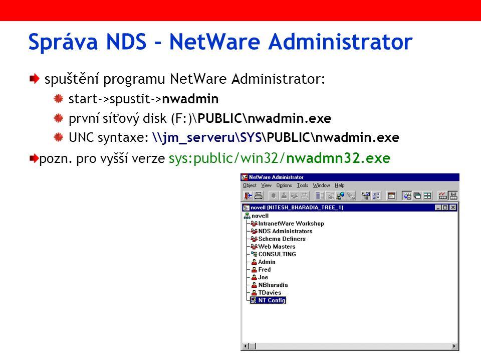 Správa NDS - NetWare Administrator spuštění programu NetWare Administrator: start->spustit->nwadmin první síťový disk (F:)\PUBLIC\nwadmin.exe UNC syntaxe: \\jm_serveru\SYS\PUBLIC\nwadmin.exe pozn.