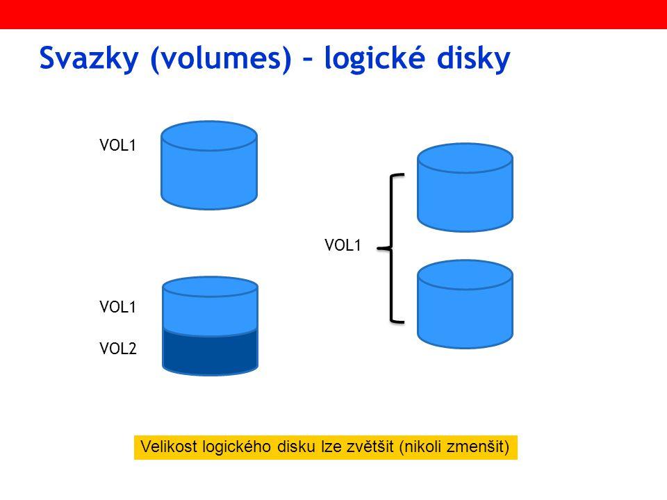 Svazky (volumes) – logické disky Velikost logického disku lze zvětšit (nikoli zmenšit) VOL1 VOL2 VOL1