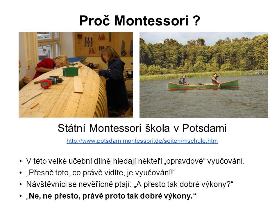 """Proč Montessori ? Státní Montessori škola v Potsdami http://www.potsdam-montessori.de/seiten/mschule.htm V této velké učební dílně hledají někteří """"op"""