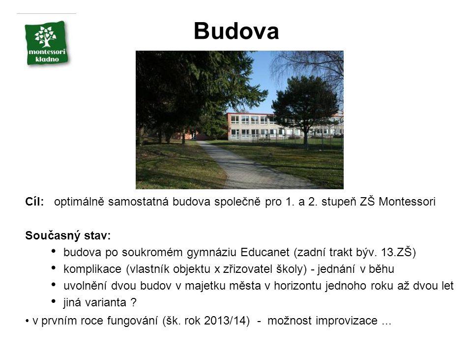 Budova Cíl: optimálně samostatná budova společně pro 1. a 2. stupeň ZŠ Montessori Současný stav: budova po soukromém gymnáziu Educanet (zadní trakt bý