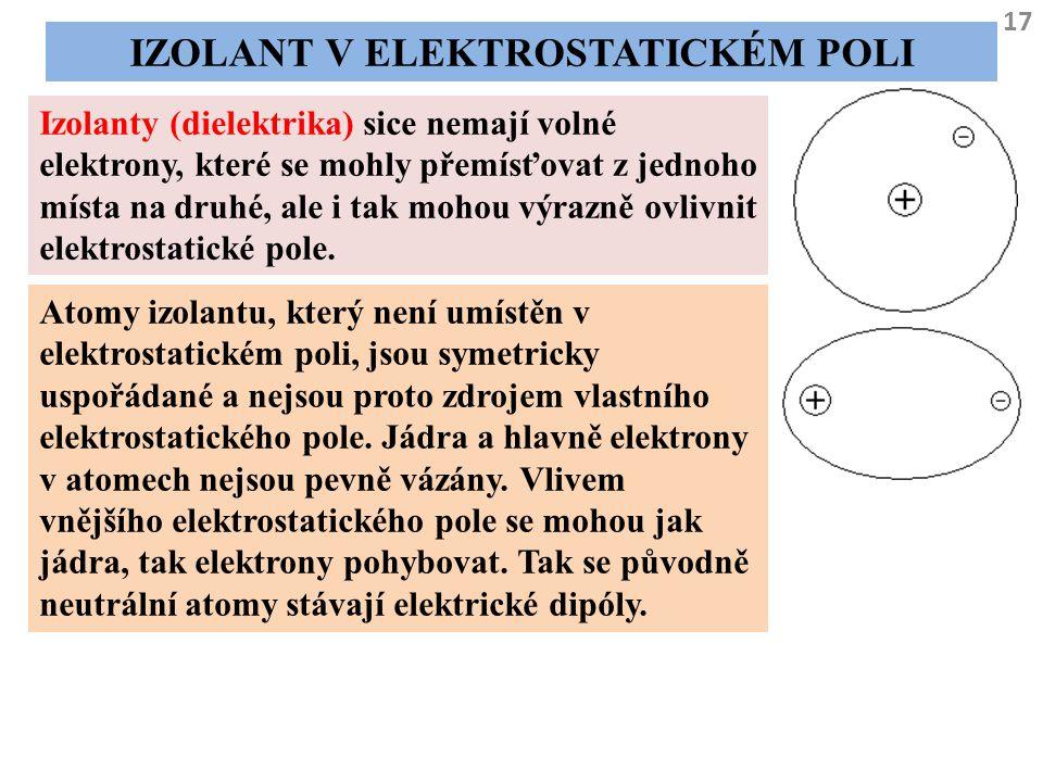 17 IZOLANT V ELEKTROSTATICKÉM POLI Izolanty (dielektrika) sice nemají volné elektrony, které se mohly přemísťovat z jednoho místa na druhé, ale i tak