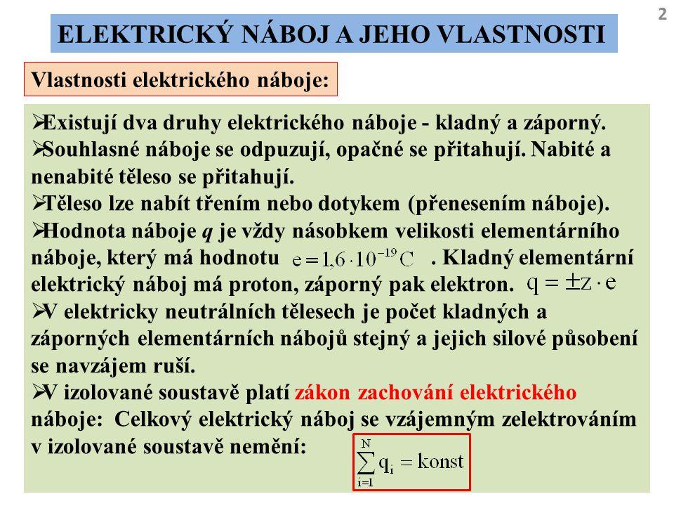 2 ELEKTRICKÝ NÁBOJ A JEHO VLASTNOSTI Vlastnosti elektrického náboje:  Existují dva druhy elektrického náboje - kladný a záporný.  Souhlasné náboje s