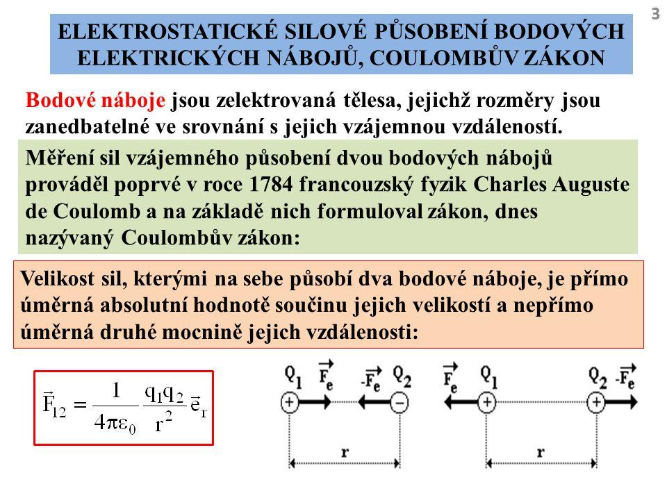 3 ELEKTROSTATICKÉ SILOVÉ PŮSOBENÍ BODOVÝCH ELEKTRICKÝCH NÁBOJŮ, COULOMBŮV ZÁKON Bodové náboje jsou zelektrovaná tělesa, jejichž rozměry jsou zanedbate