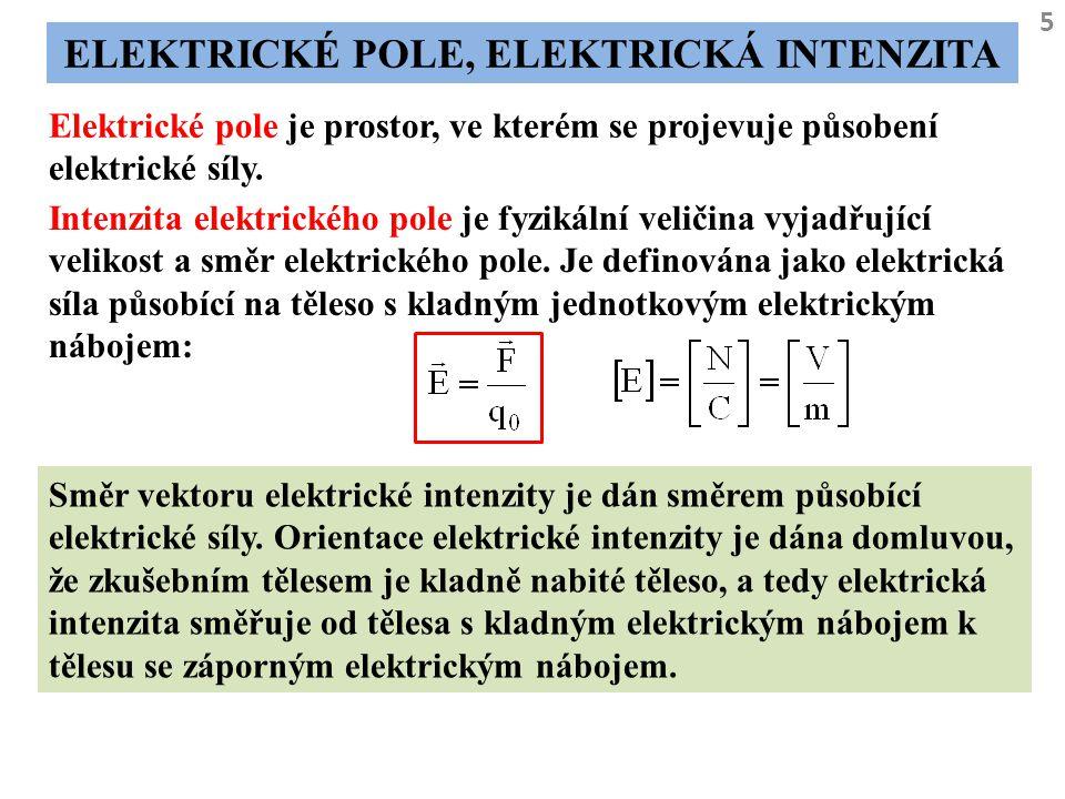 5 ELEKTRICKÉ POLE, ELEKTRICKÁ INTENZITA Elektrické pole je prostor, ve kterém se projevuje působení elektrické síly. Intenzita elektrického pole je fy