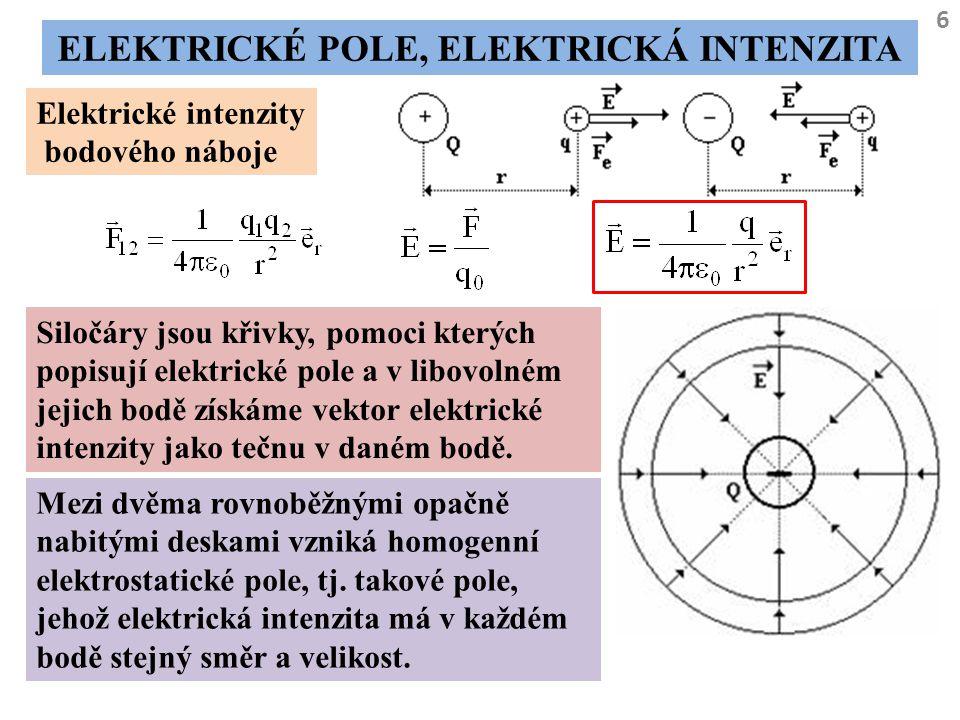 6 ELEKTRICKÉ POLE, ELEKTRICKÁ INTENZITA Elektrické intenzity bodového náboje Siločáry jsou křivky, pomoci kterých popisují elektrické pole a v libovol